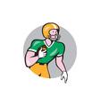 American football player rusher circle retro vector