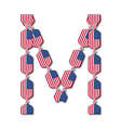 Letter m made of usa flags in form of candies vector