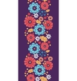 Colorful bouquet flowers vertical seamless pattern vector