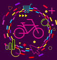Bicycle on abstract colorful geometric dark vector