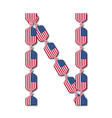 Letter n made of usa flags in form of candies vector
