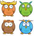 Owl cartoon set vector