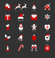 Christmas flat with reflection icons vector