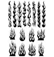 Black tribal flames set vector