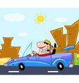 Man driving his convertible car on a desert road vector