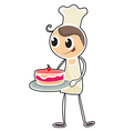 A baker holding a tray of cake vector