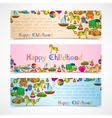 Toys banners horizontal set vector