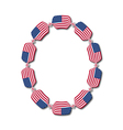 Letter o made of usa flags in form of candies vector