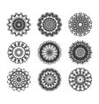 Circle vignette lace decorations set vector