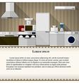 Flat of kitchen vector