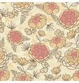Vintage brown pink flowers seamless pattern vector