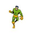 Super hero running punching retro vector