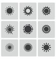 Black sun icons set vector