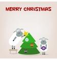 Cartoon funny sheep dresses up a fir-tree vector