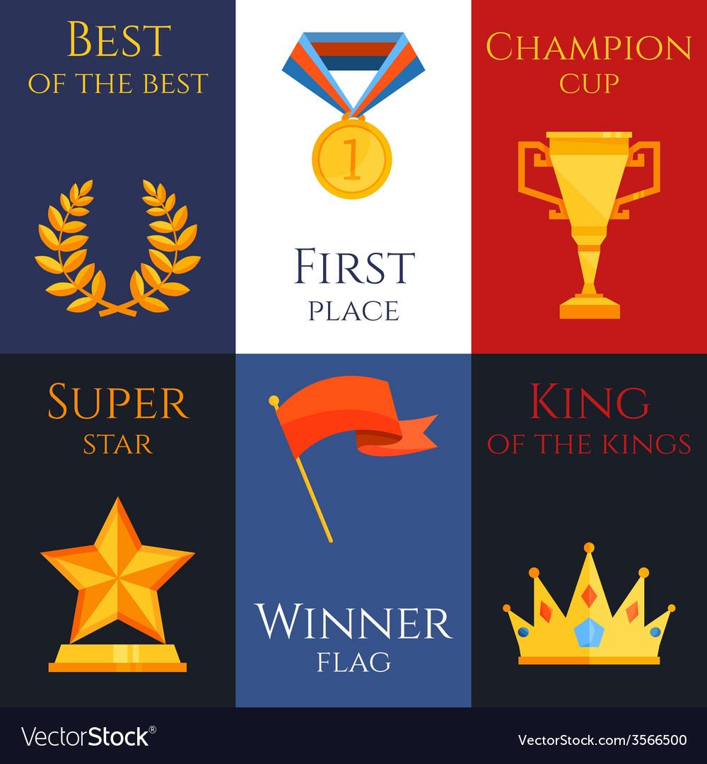 Award mini poster set vector | Price: 1 Credit (USD $1)