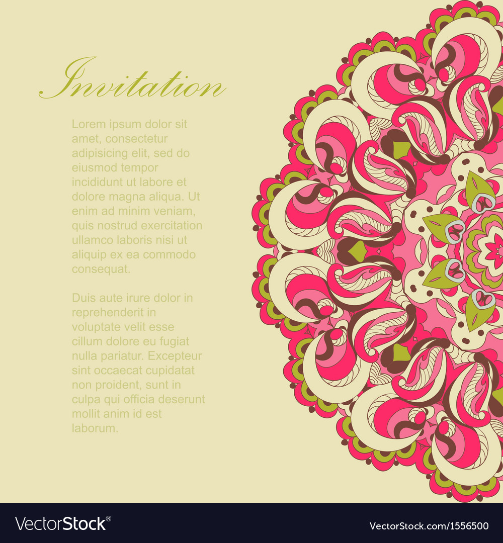 Beautiful pink arabesque lace pattern background vector | Price: 1 Credit (USD $1)