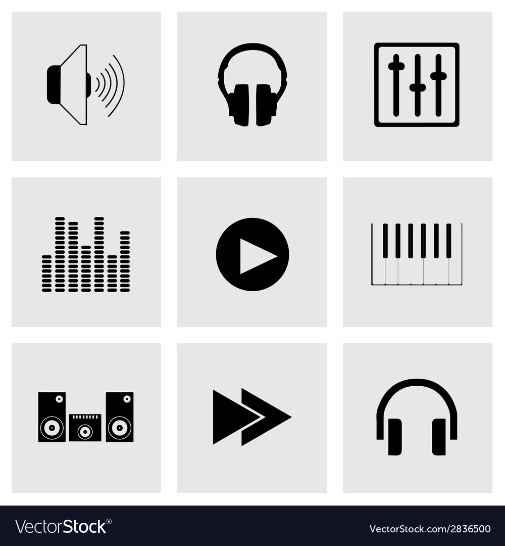Black sound icons set vector | Price: 1 Credit (USD $1)