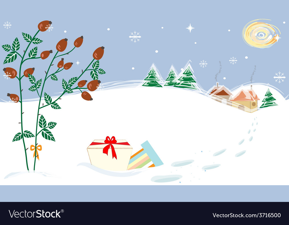 Christmas landscape briar presents starry night vector | Price: 1 Credit (USD $1)