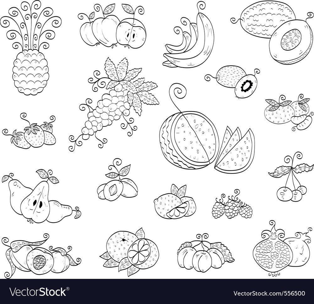 Doodle fruits and berries vector | Price: 1 Credit (USD $1)