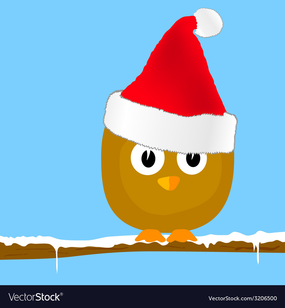 Funny bird with christmas hat art vector | Price: 1 Credit (USD $1)
