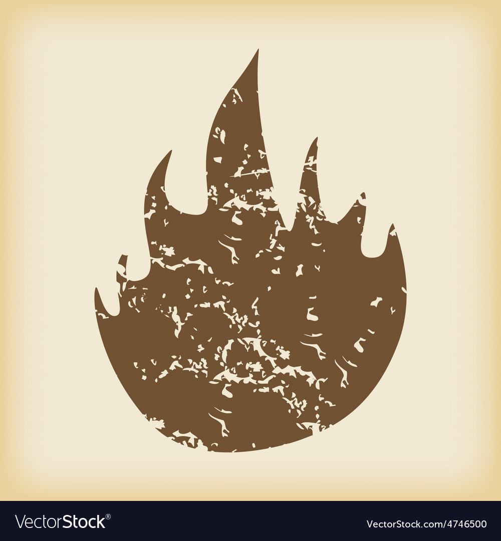 Grungy fire icon vector | Price: 1 Credit (USD $1)