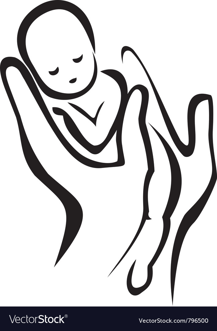 Hands holding a newborn baby vector | Price: 1 Credit (USD $1)