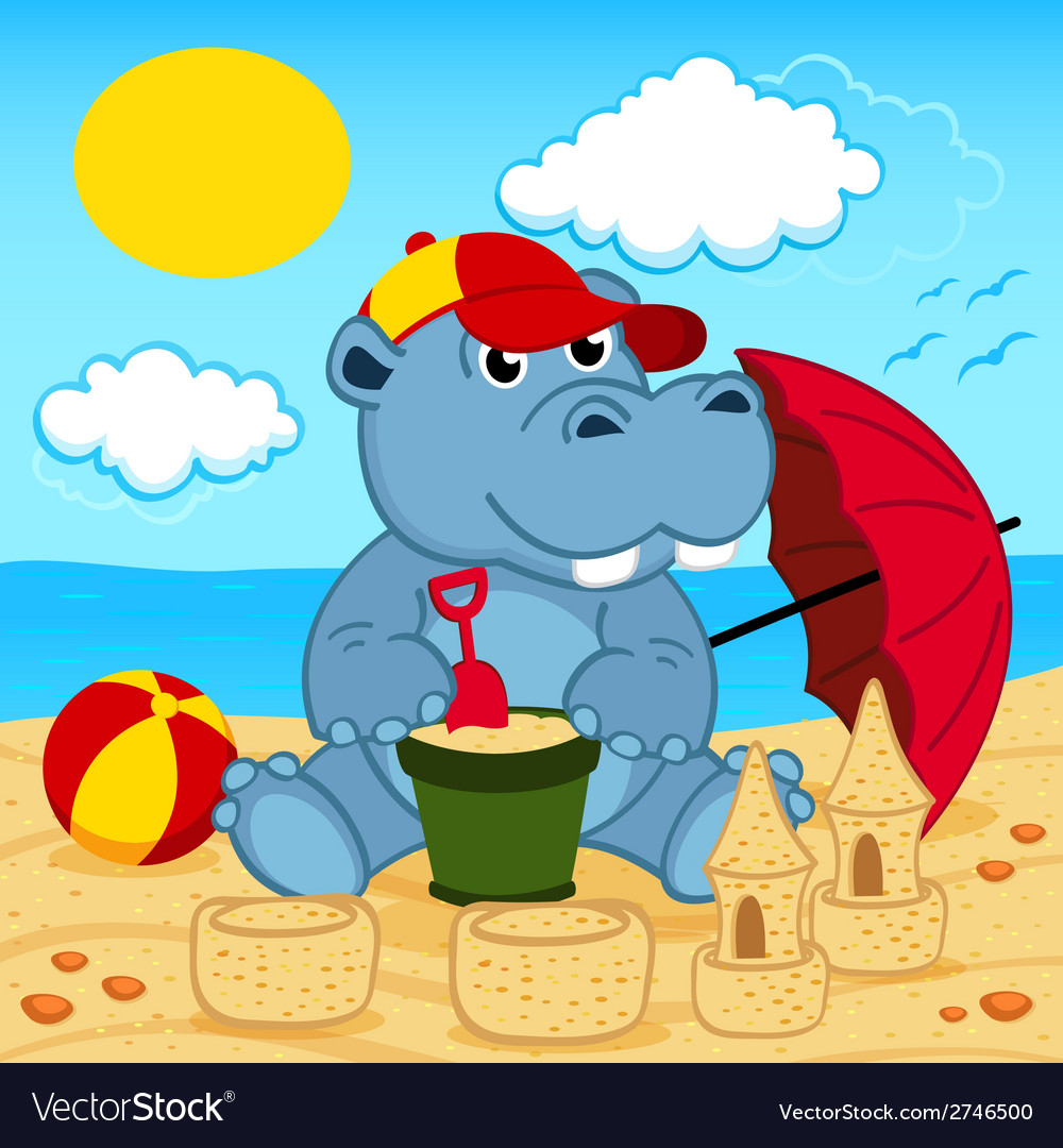 Hippo on beach vector | Price: 1 Credit (USD $1)