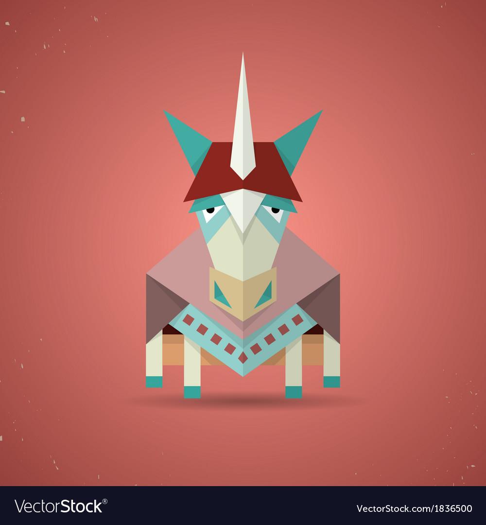 Magic cute origami unicorn from folded paper vector | Price: 1 Credit (USD $1)