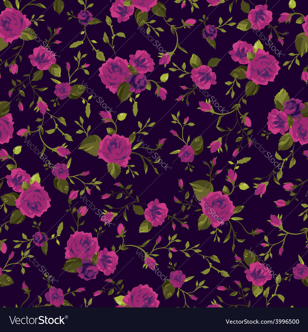 Seamless floral pattern with pink roses vector | Price: 1 Credit (USD $1)