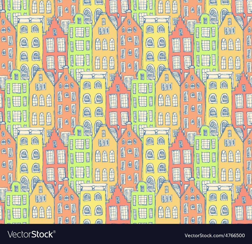 Sketch amsterdam houses in vintage style vector | Price: 1 Credit (USD $1)