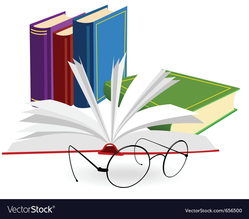 Spectacles and opened book on a white background vector | Price: 1 Credit (USD $1)