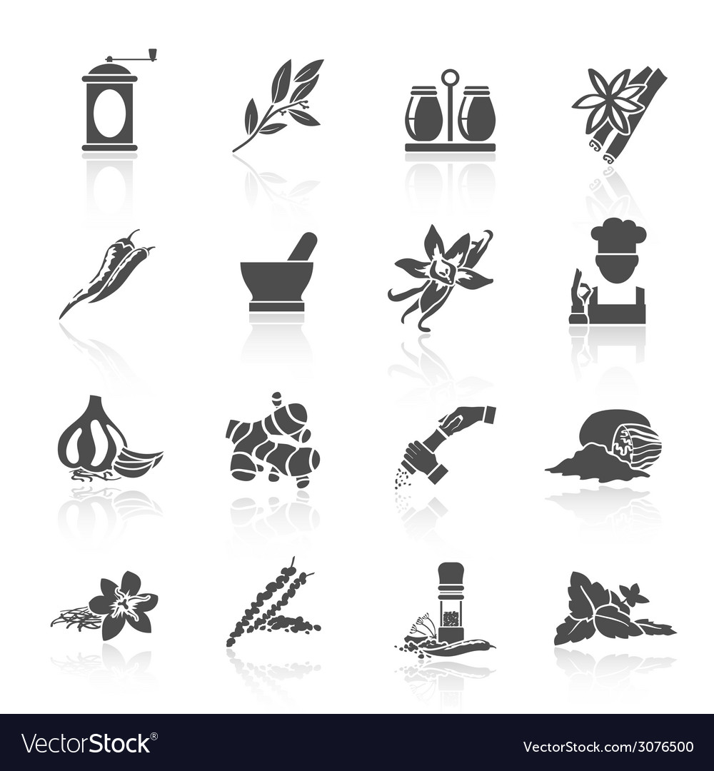 Spices icons black vector | Price: 1 Credit (USD $1)