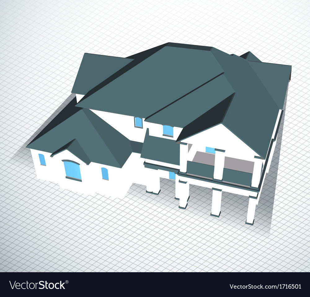 Architectural house technical draw vector | Price: 1 Credit (USD $1)