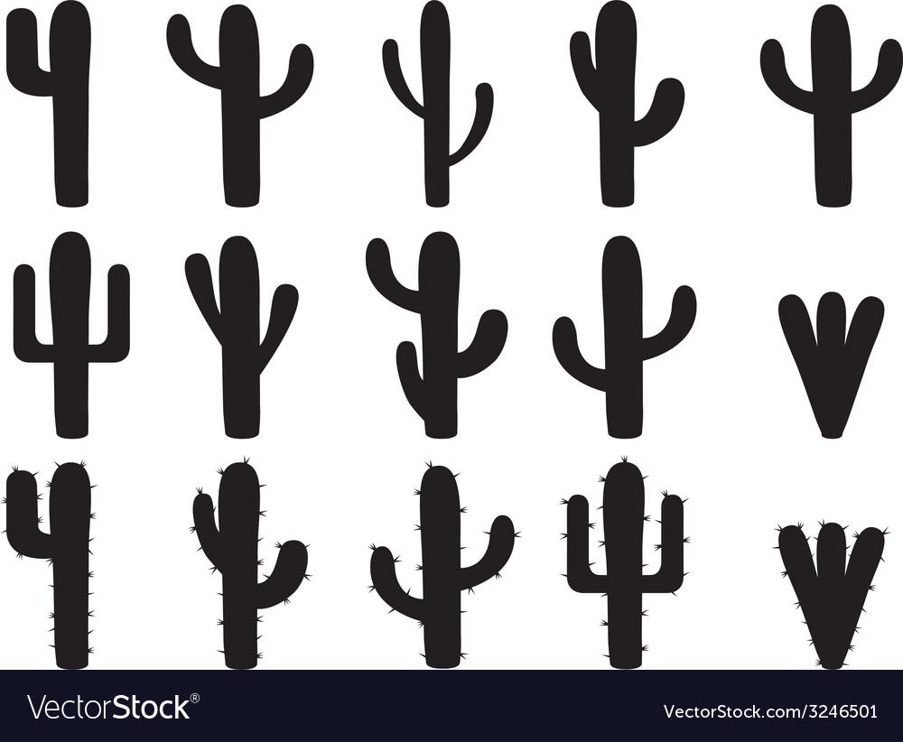 Cactus silhouettes vector | Price: 1 Credit (USD $1)
