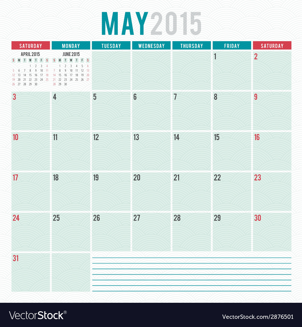 Calendar planner 2015 template week starts sunday vector | Price: 1 Credit (USD $1)