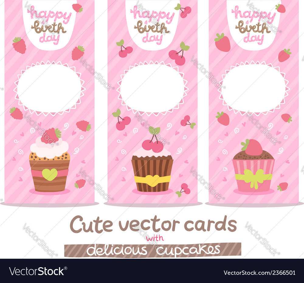 Happy birthday card background with cupcakes vector | Price: 1 Credit (USD $1)