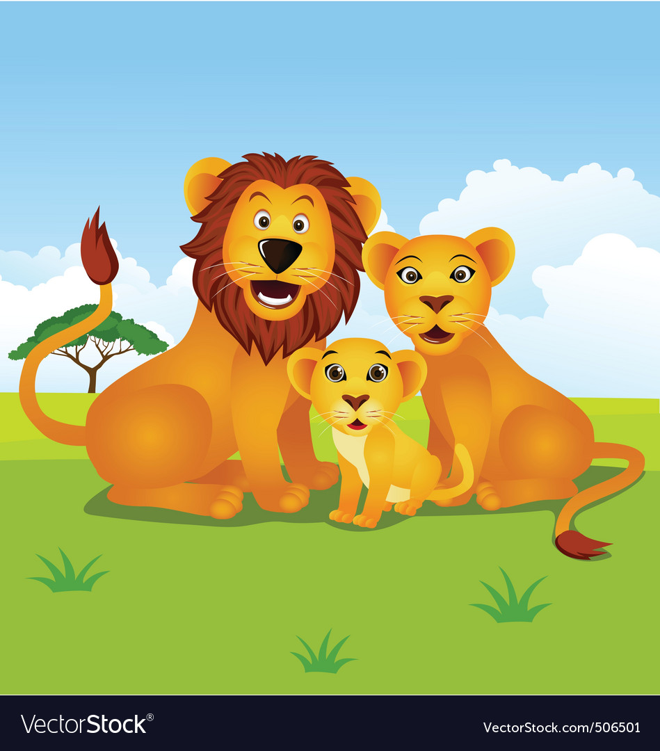Lion family vector | Price: 1 Credit (USD $1)