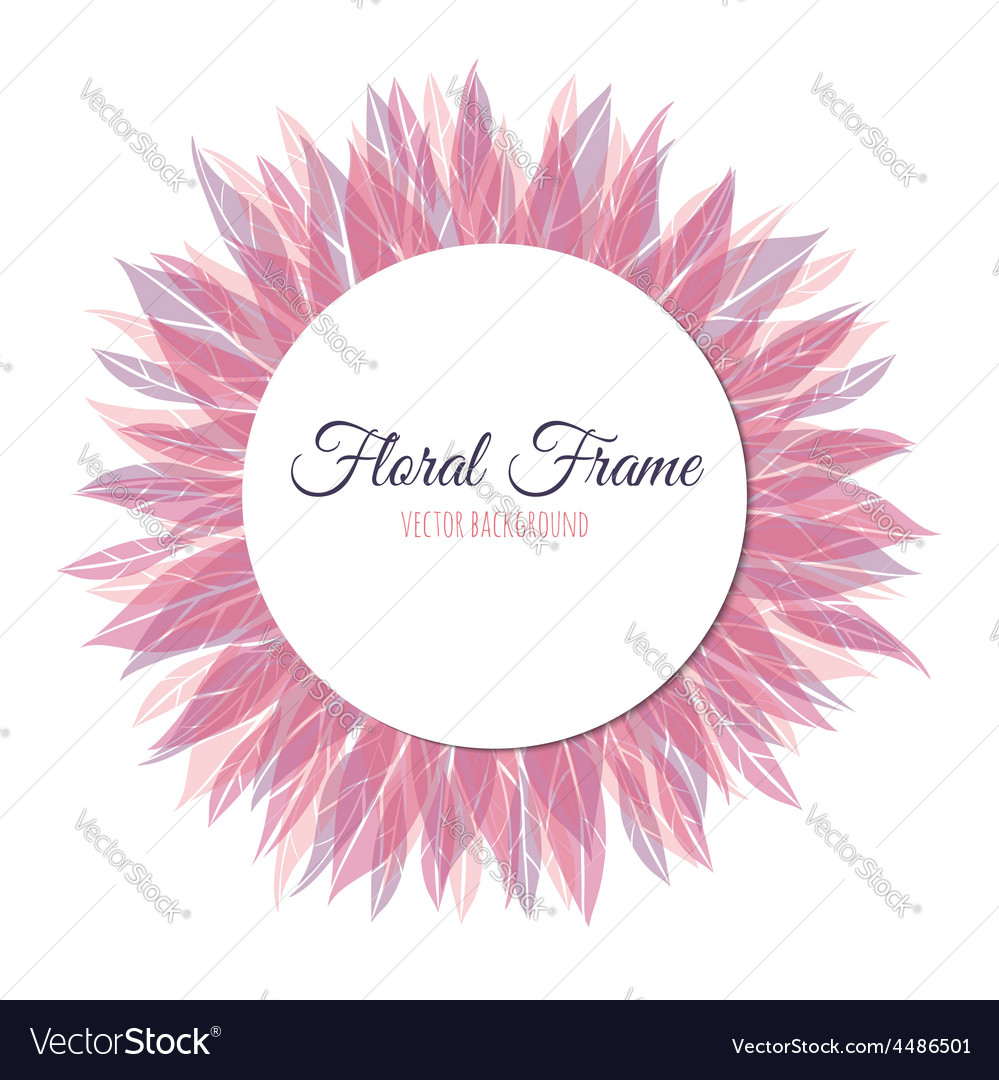 Pink floral round frame vector | Price: 1 Credit (USD $1)