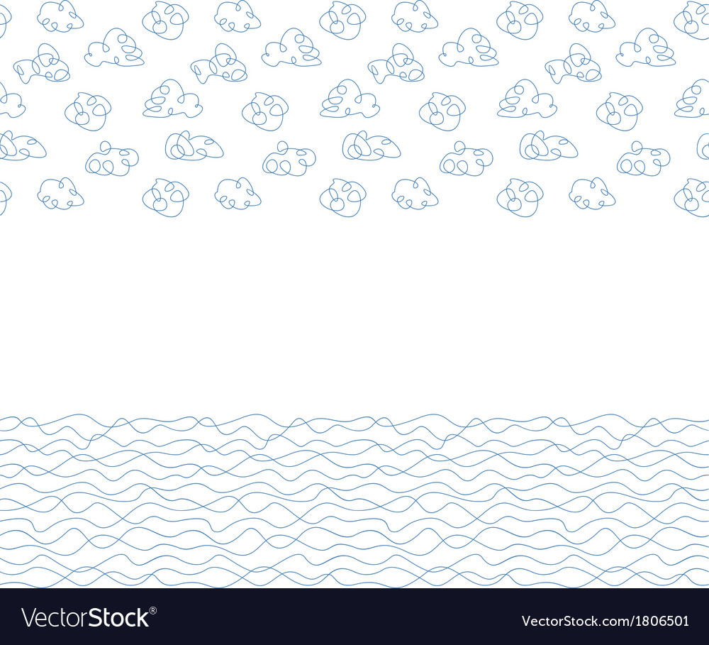 Seamless background white clouds and waves vector | Price: 1 Credit (USD $1)
