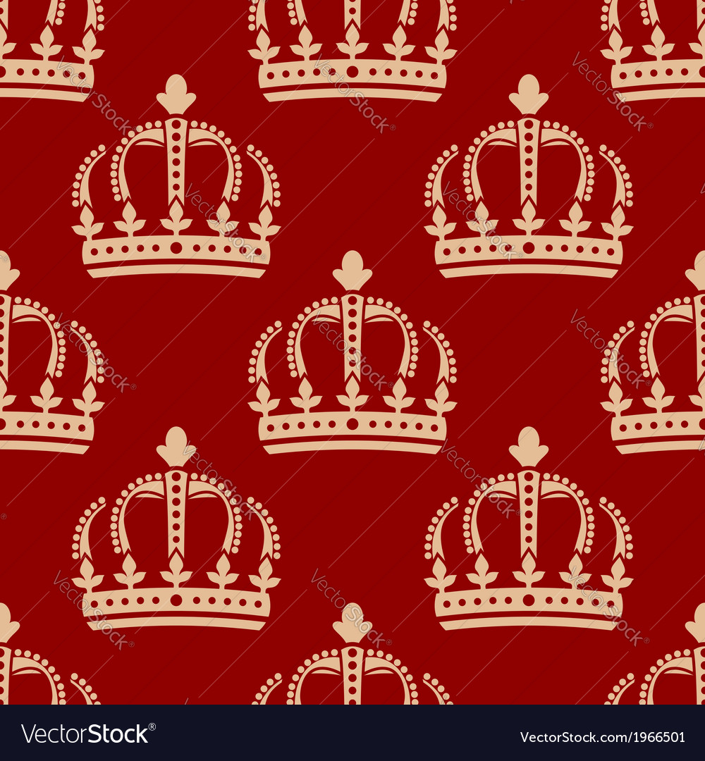 Seamless pattern of crowns on a red background vector | Price: 1 Credit (USD $1)