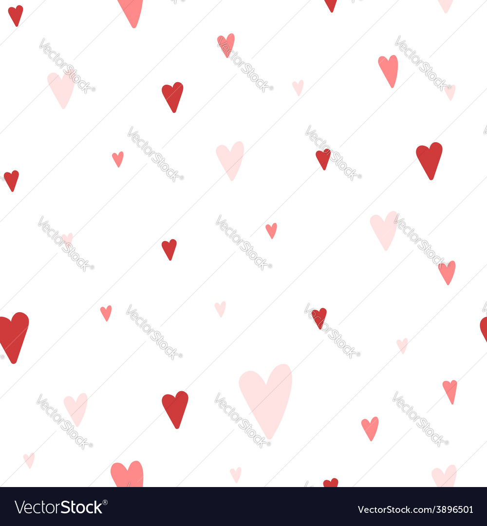 Seamless pattern with red and pink hearts vector | Price: 1 Credit (USD $1)