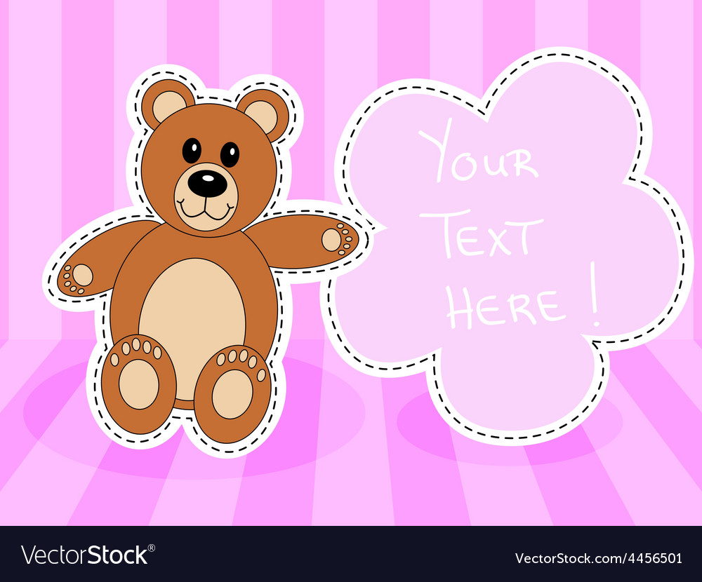 Teddy bearwith blank sign in pink room vector | Price: 1 Credit (USD $1)