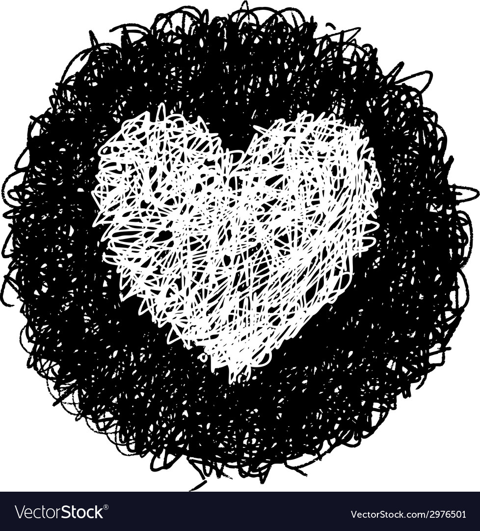 White heart in black circle vector | Price: 1 Credit (USD $1)