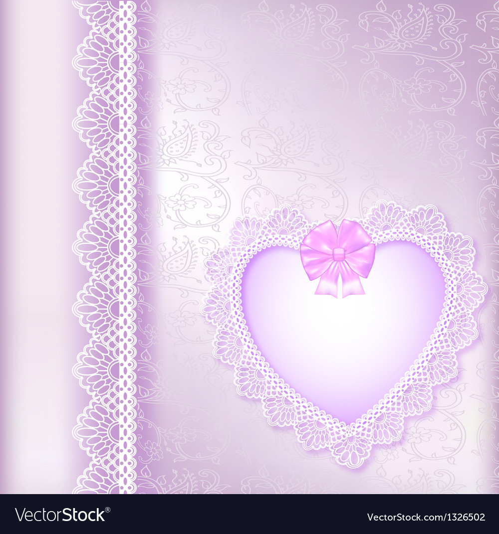 Background with a satin bow and a heart vector | Price: 1 Credit (USD $1)