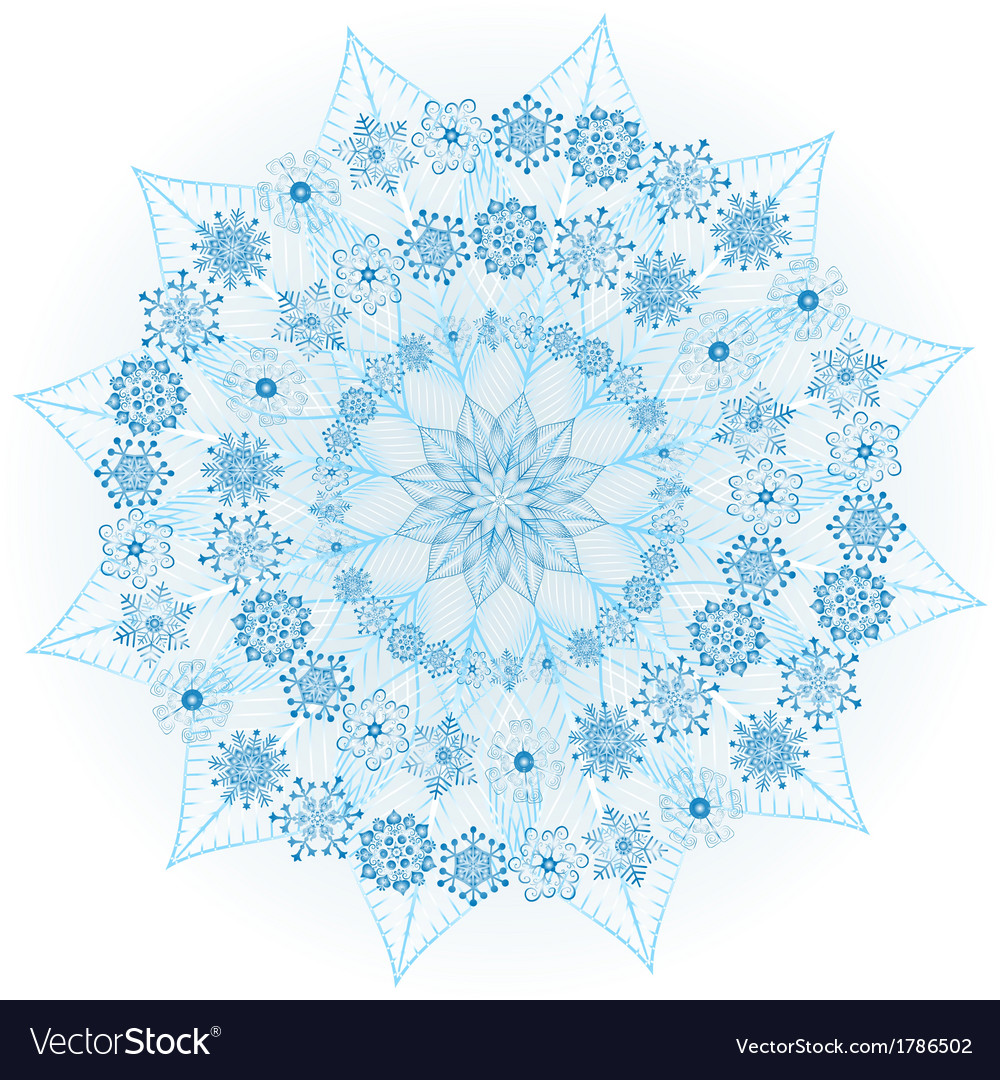 Big blue glowing snowflake vector | Price: 1 Credit (USD $1)