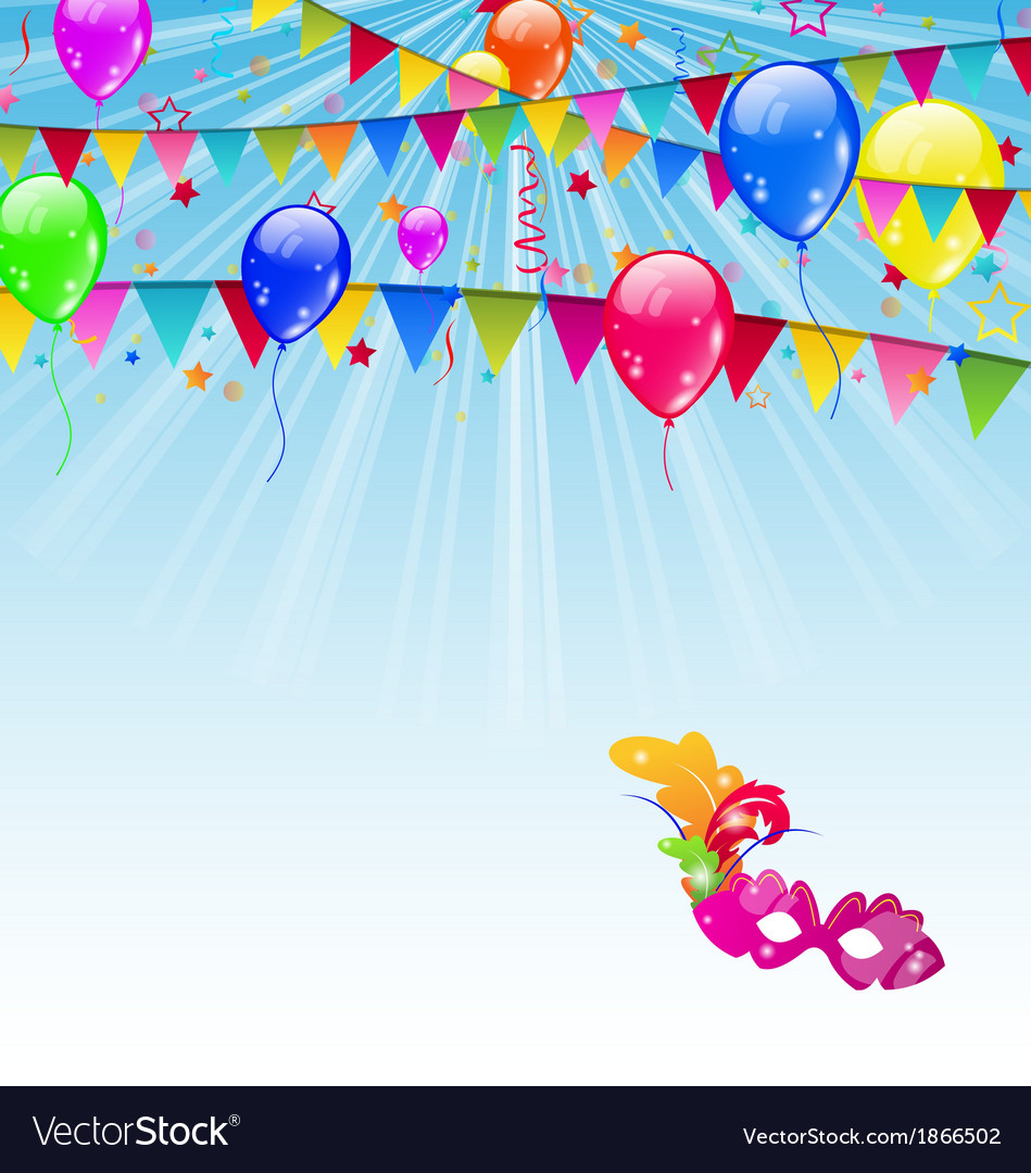 Carnival background with flags confetti balloons vector | Price: 1 Credit (USD $1)