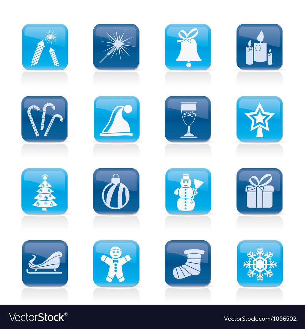 Christmas and new year icons vector | Price: 1 Credit (USD $1)