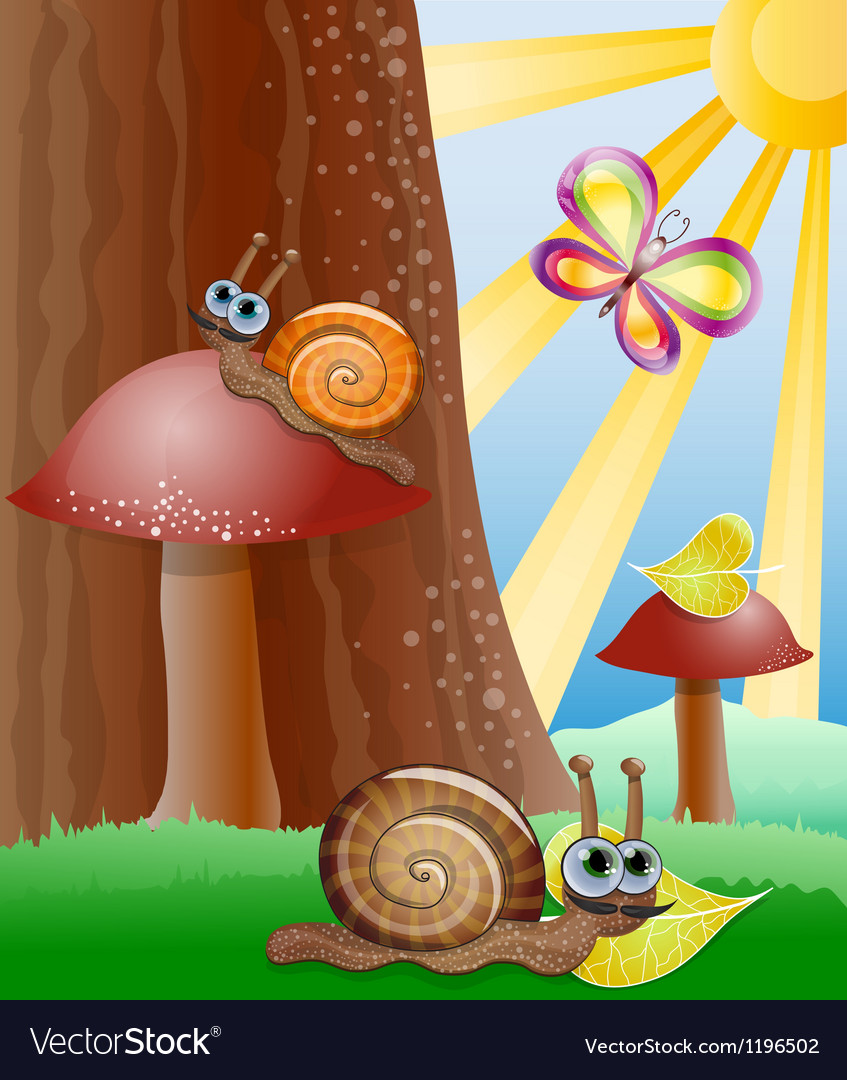 Cute picture with snails vector | Price: 3 Credit (USD $3)