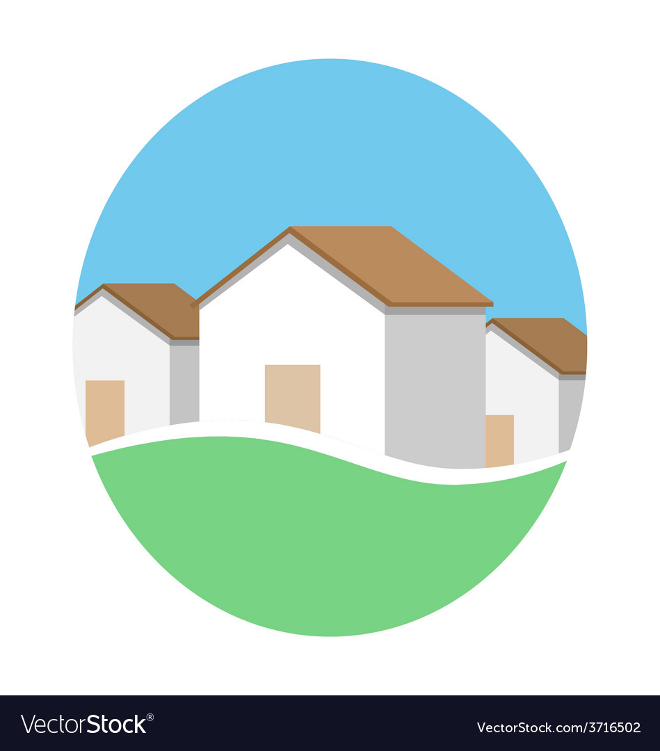 Emblem with houses in eco place isolated on white vector | Price: 1 Credit (USD $1)