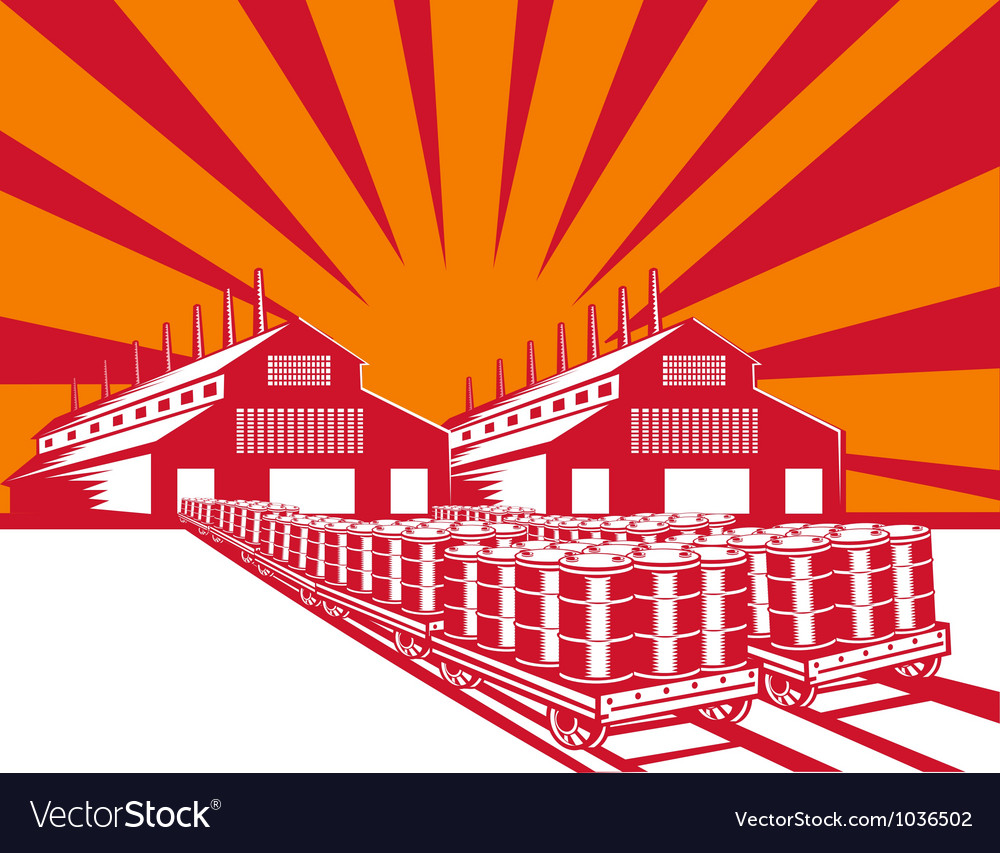 Factory building oil drum barrel retro vector | Price: 1 Credit (USD $1)